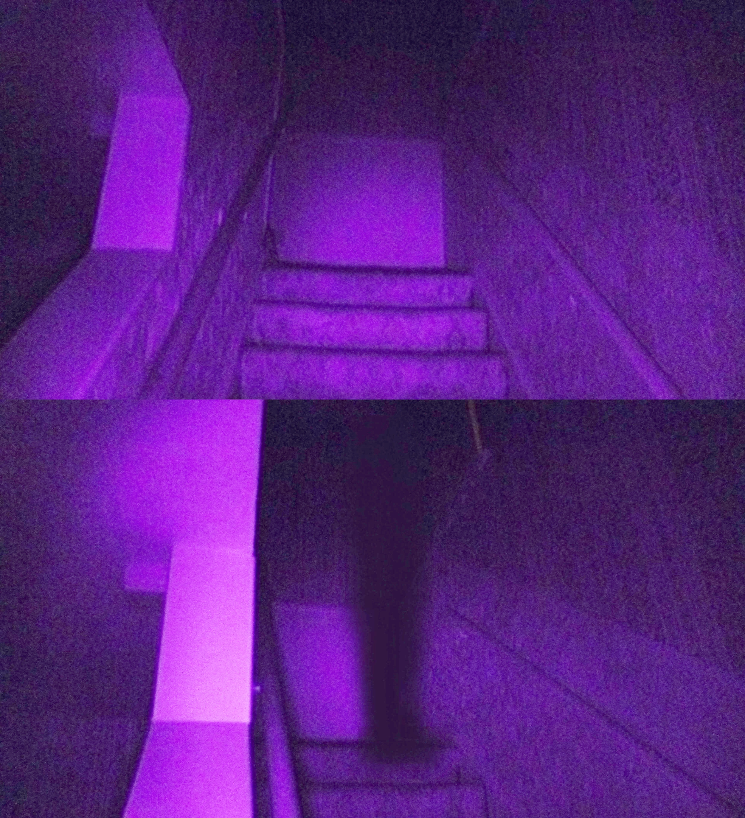 Two images taken in sequence, the bottom shows a shadow some think is responsible for the occasional shove down the stairs.  From the  30 East Drive website , photo by Andy E.