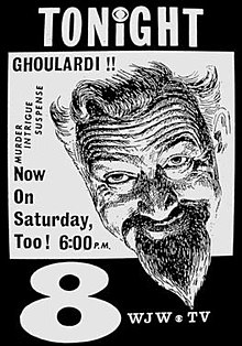 """Voice announcer, actor and disc jockey Ernie Anderson aka """"Ghoulardi,"""" the horror host of  Shock Theater  at WJW -TV, Channel 8 in Cleveland, Ohio , also known as the father to acclaimed filmmaker  Paul Thomas Anderson"""