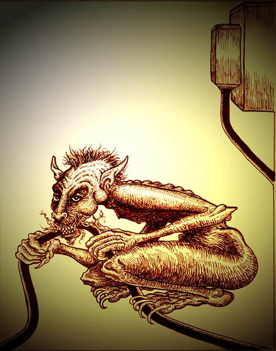 "A gremlin chewing on a cable. From Andrew L Paciorek's book,  ""Strange Lands: A Field Guide to the Celtic Otherworld."""