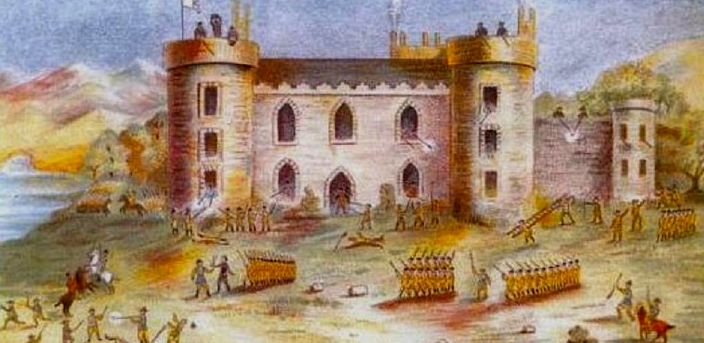 Redmond Hall as it's being defended by Alexander Redmond against overwhelming British forces. The castle would later be rebuilt and become the site for Loftus Hall
