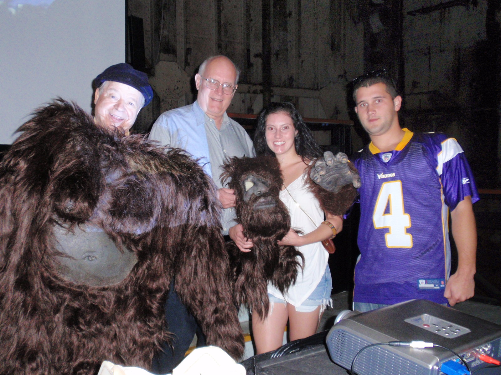 """Philip Morris at far left holding his Bigfoot costume; Arlee Bird to the right of Morris, from whose blog   Tossing It Out   this photo was acquired.Photo taken by Los Angeles magician,  Whit """"Pop"""" Haydn"""