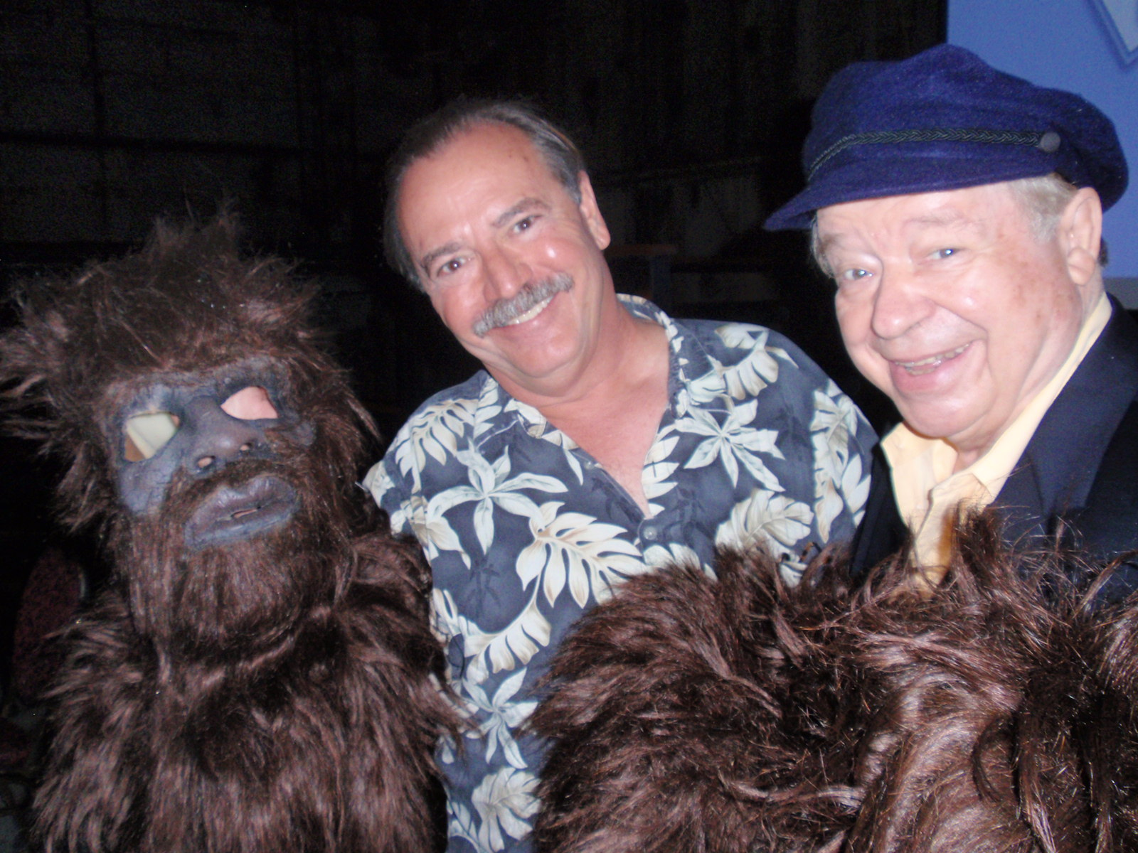 "LA magician Whit ""Pop"" Haydn  on the left, Philip Morris on the right with a replica of his Bigfoot costume.  From Arlee Bird's blog,   Tossing It Out"