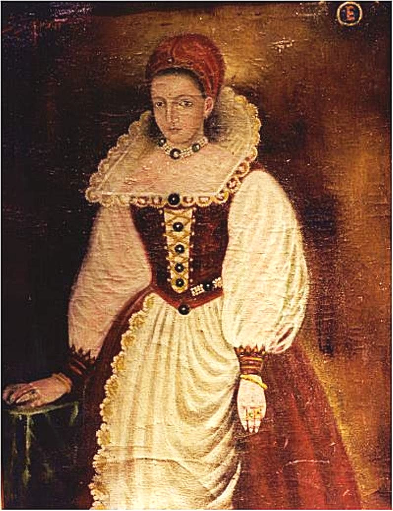 The only known portrait of the Countess  Elizabeth Bathory  when she was 25 years old.  The original painting from 1585 has been lost.  This copy was probably painted in the late 16th c.