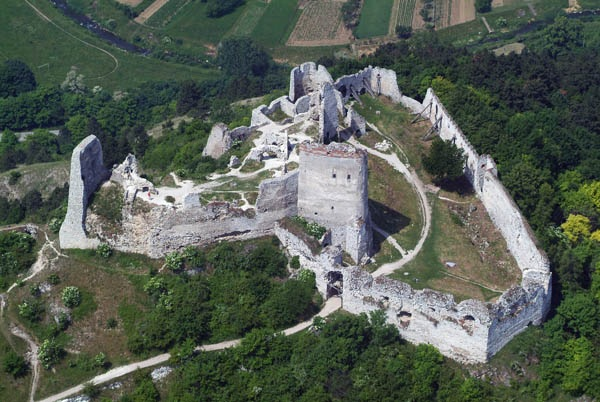 Aerial view of the ruins of  Čachtice Castle ,  photo by  Civertan , used with  CC BY-SA 3.0