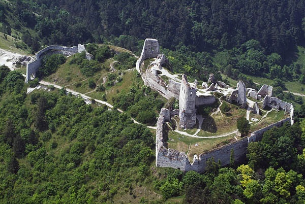 Aerial photo of Čachtice Castle, Slovakia, by  Civertan   CC BY-SA 3.0