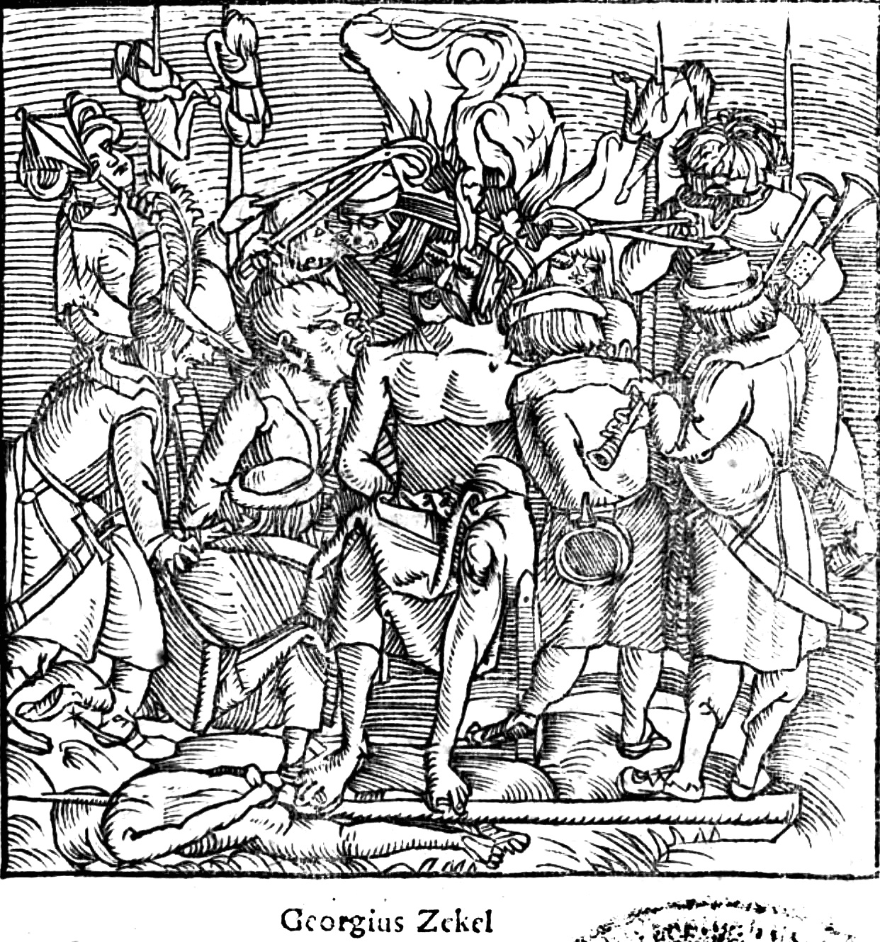Contemporary woodcut depicting the horrific execution of György Dózsa, the leader of a Hungarian peasant revolt.