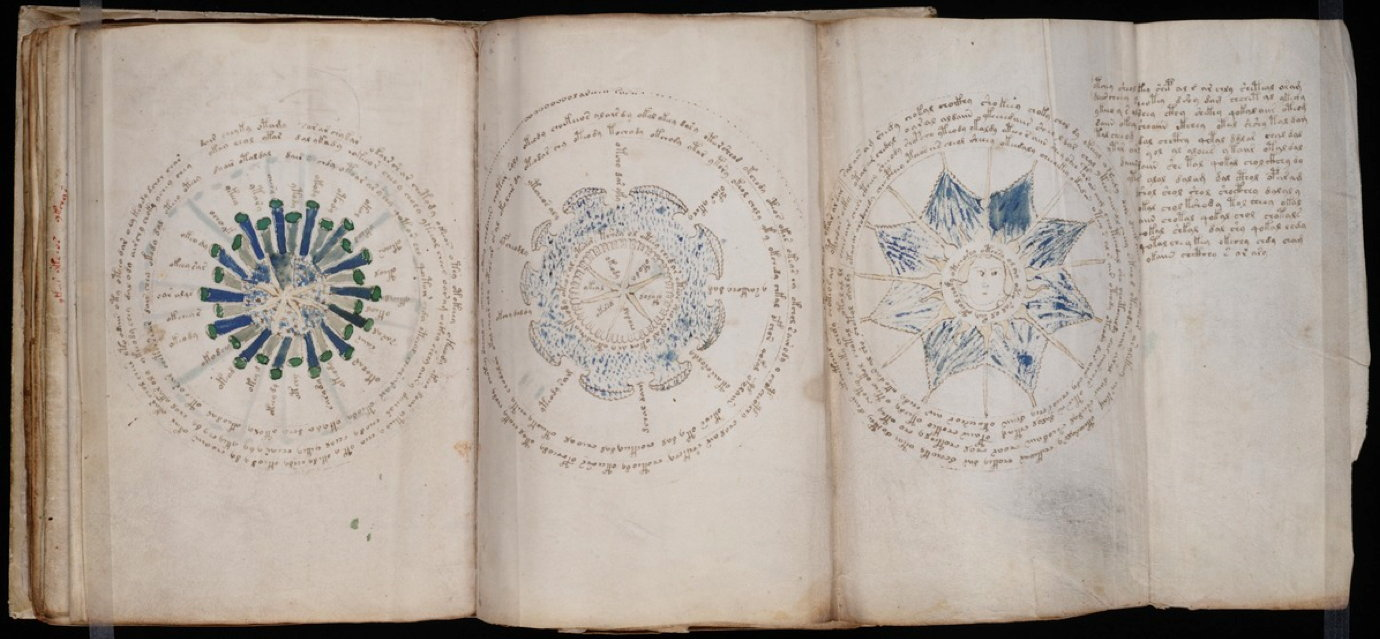 All images of scans of the Voynich Manuscript from Beinecke Rare Book & Manuscript Library, via jasondavies.com/voynich