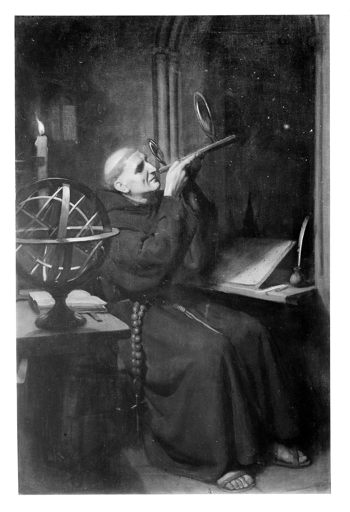 Roger Bacon in his observatory at Merton College, Oxford. Oil painting by Ernest Board.  Used by  CC BY 4.0
