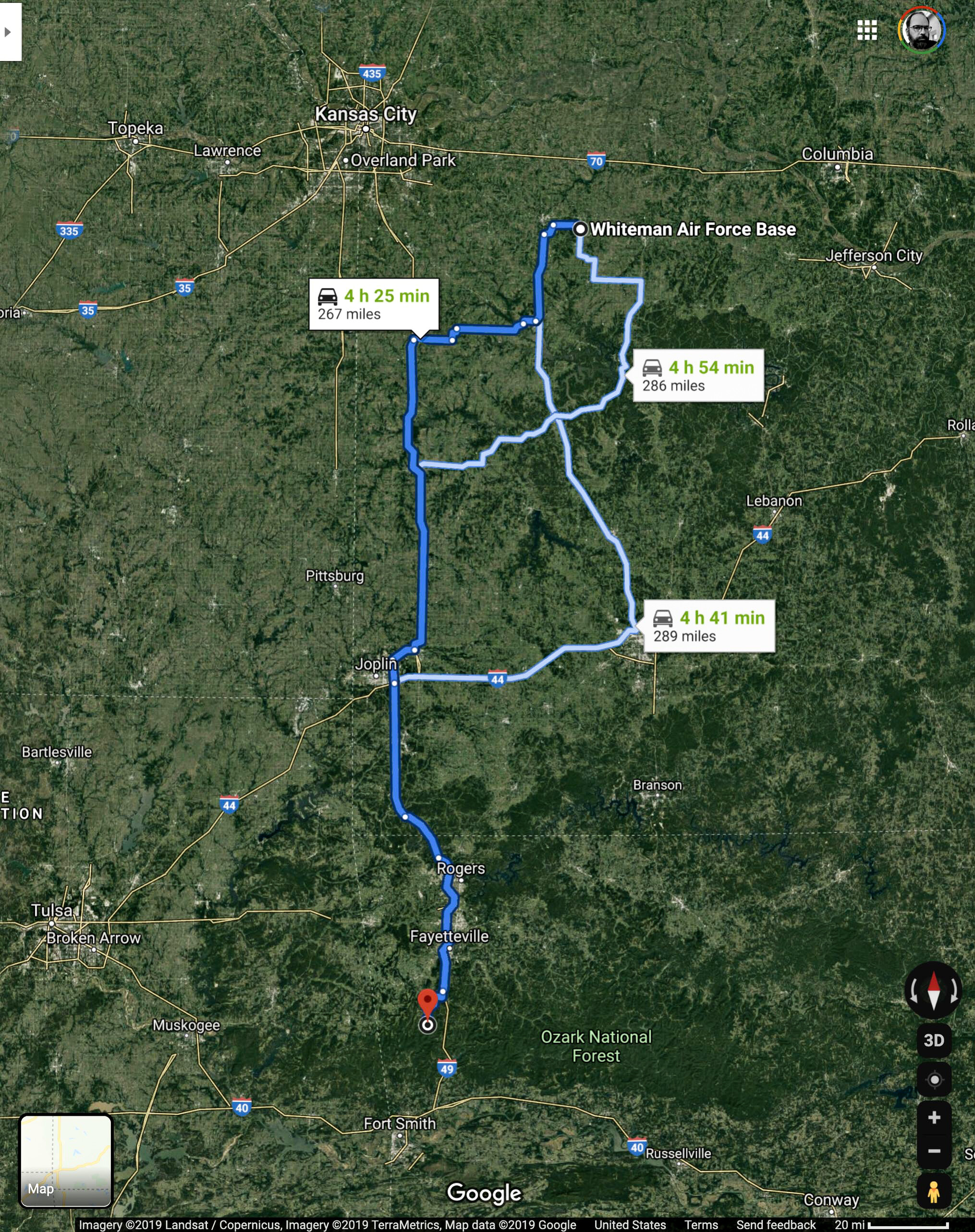 Driving distance from Whiteman AFB in Missouri to the clearing at Devil's Den in Arkansas.