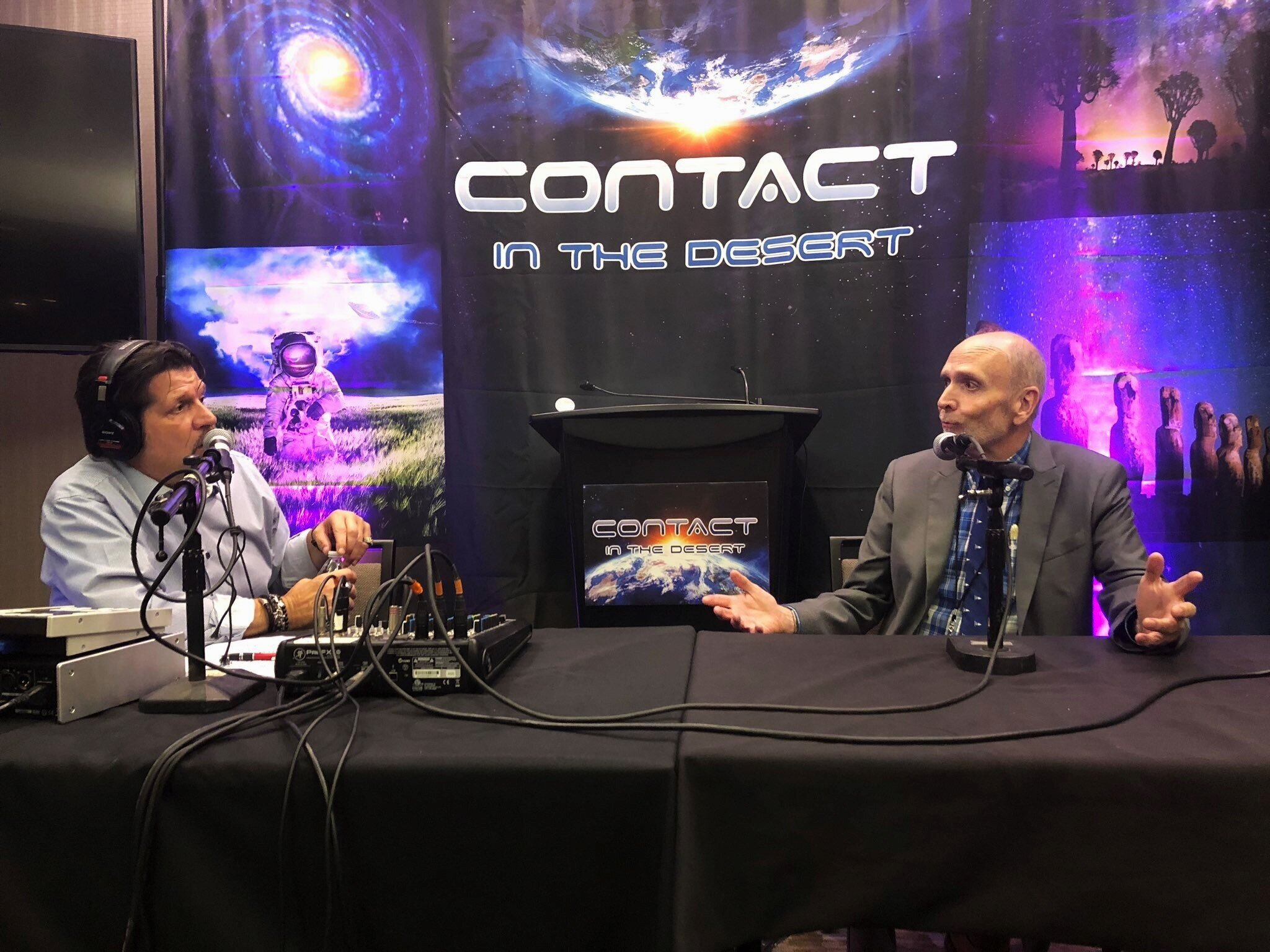 "Terry being interviewed by radio host Jimmy Church of the  Fade to Black  radio show at ""Contact in the Desert"""