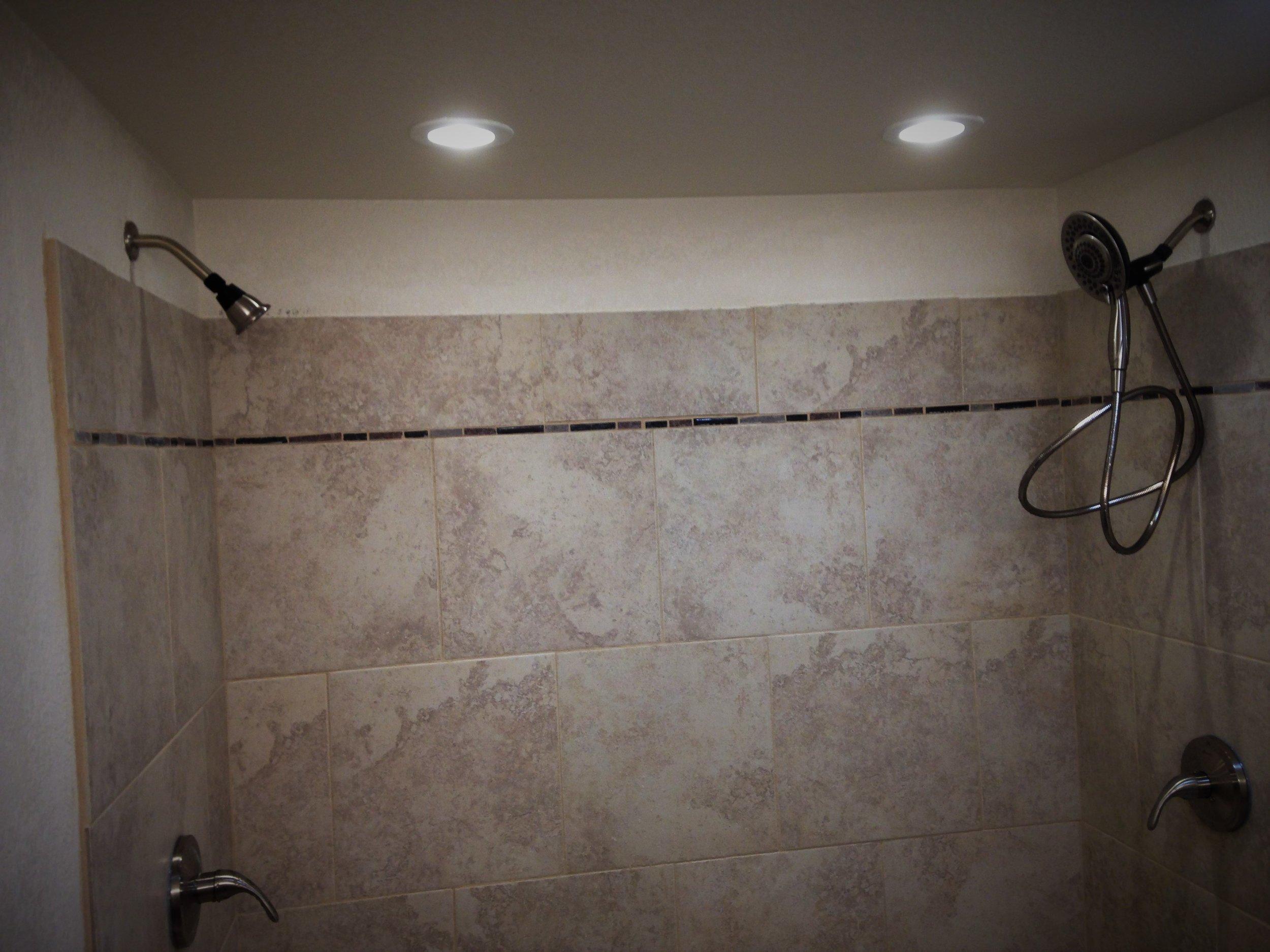 Shower Plumbing with Custom Tile Walls