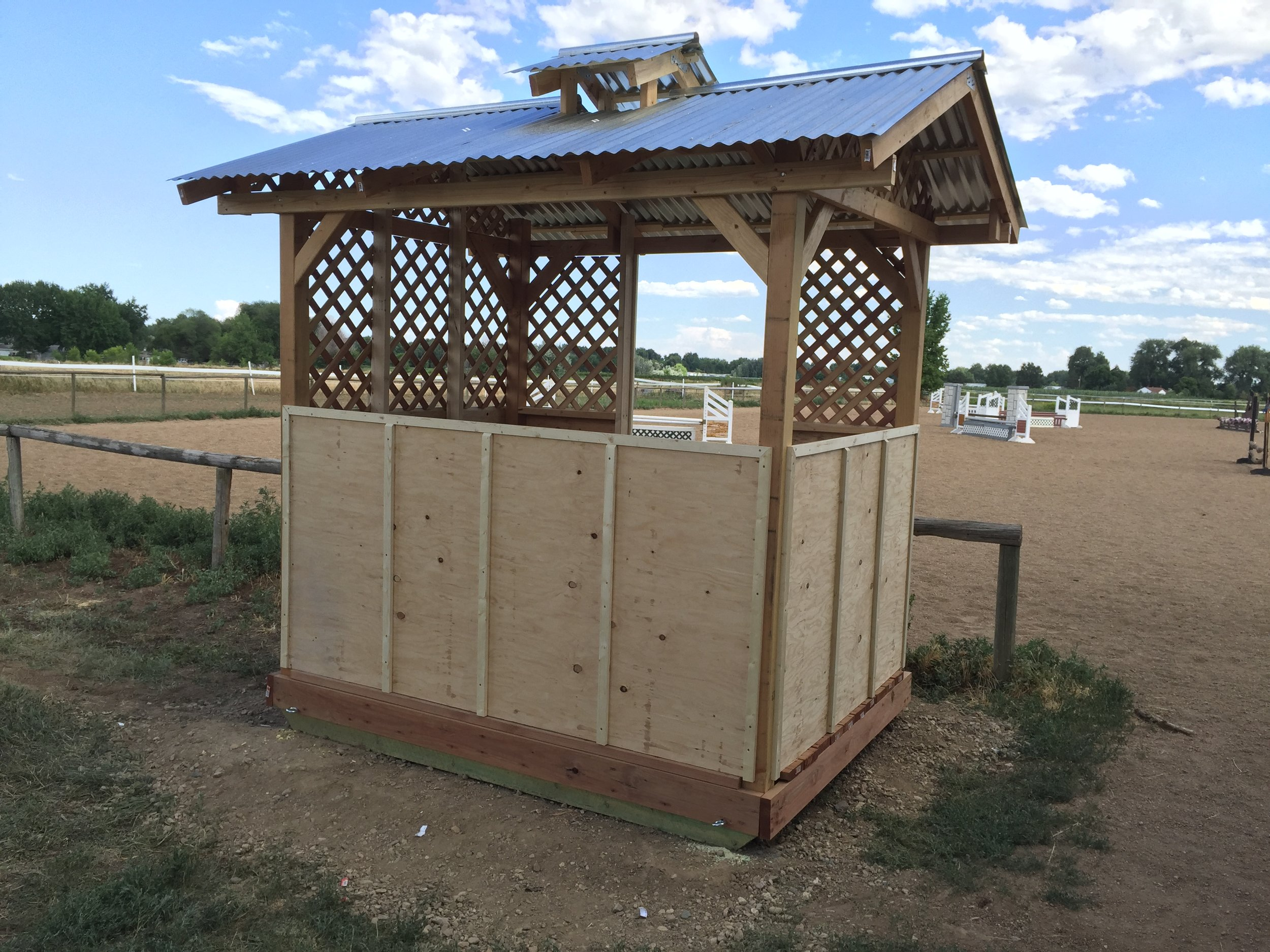 Gazebo built with reflective tin roof and ventilation for hot summer days