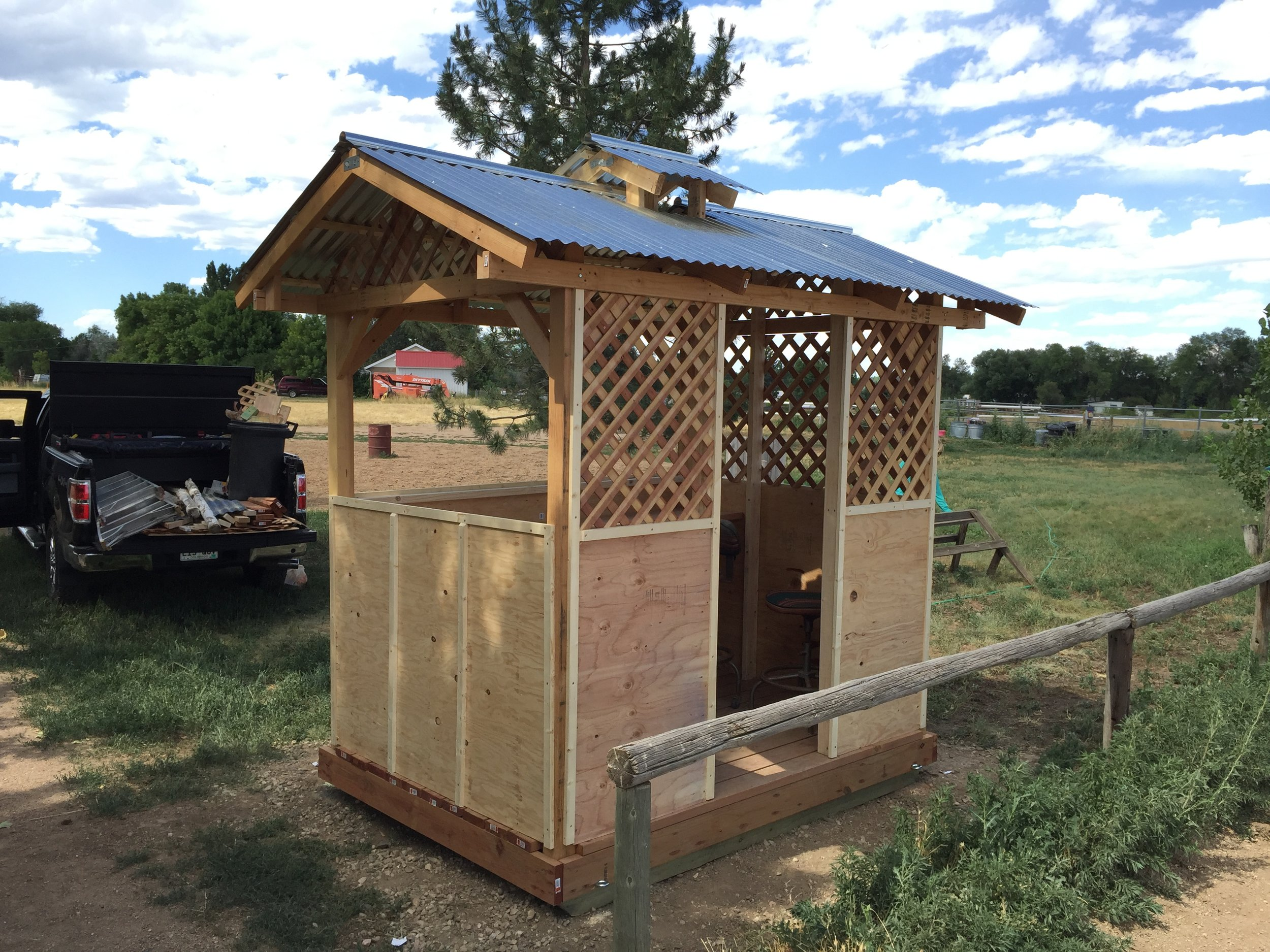 Gazebo built for Horse Show announcer's booth. Live power installed inside