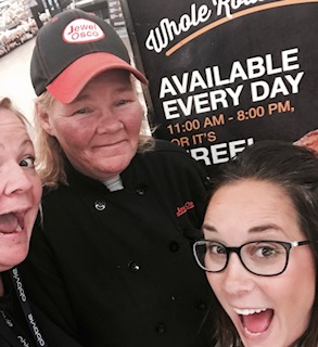 Me, Barb and Sam celebrating Jewel's new policy on rotisserie chicken. AVAILABLE EVERYDAY FROM 11AM-8PM- OR IT'S FREE! aaaaaaa-MAZEBALLS.