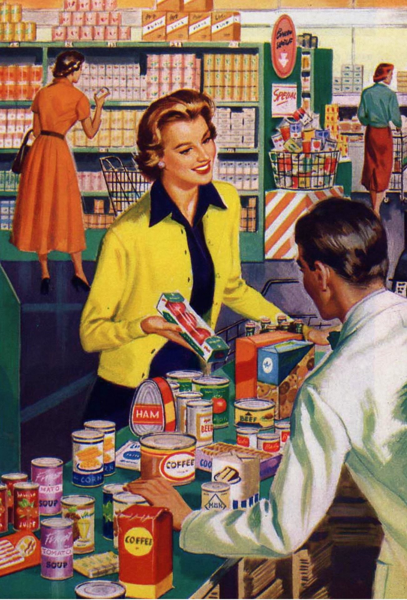 This is an actual artist's rendering of me shopping. I'm so happy. I'm so pretty. And who doesn't love ham in a can?