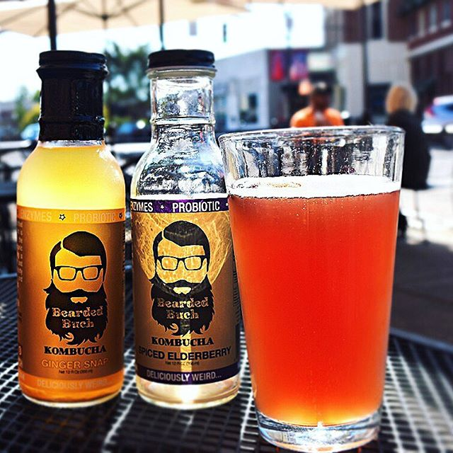 We are now carrying Kombucha from @beardedbuch! Available in ginger and elderberry (hello immune system boost) flavors! You can drink this delightfully fizzy beverage anytime, anywhere. And, it's chalk full of probiotics so it's good for you too! Win win. 🍹#kombucha #beardedbuch #drinkupcolumbus #asseenincolumbus #eatdrinkplay #hmcraftkitchen #probiotics #wellnesswednesday #topcolumbusrestaurants