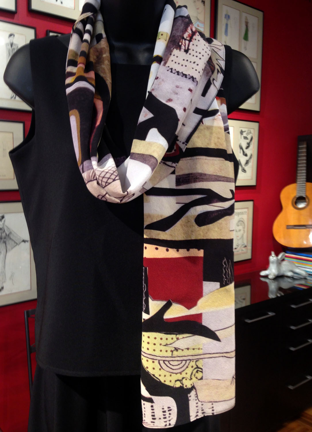 HLN-original design-black & white with splashes of color and texture-graphic-painterly abstract-silk scarf.jpg