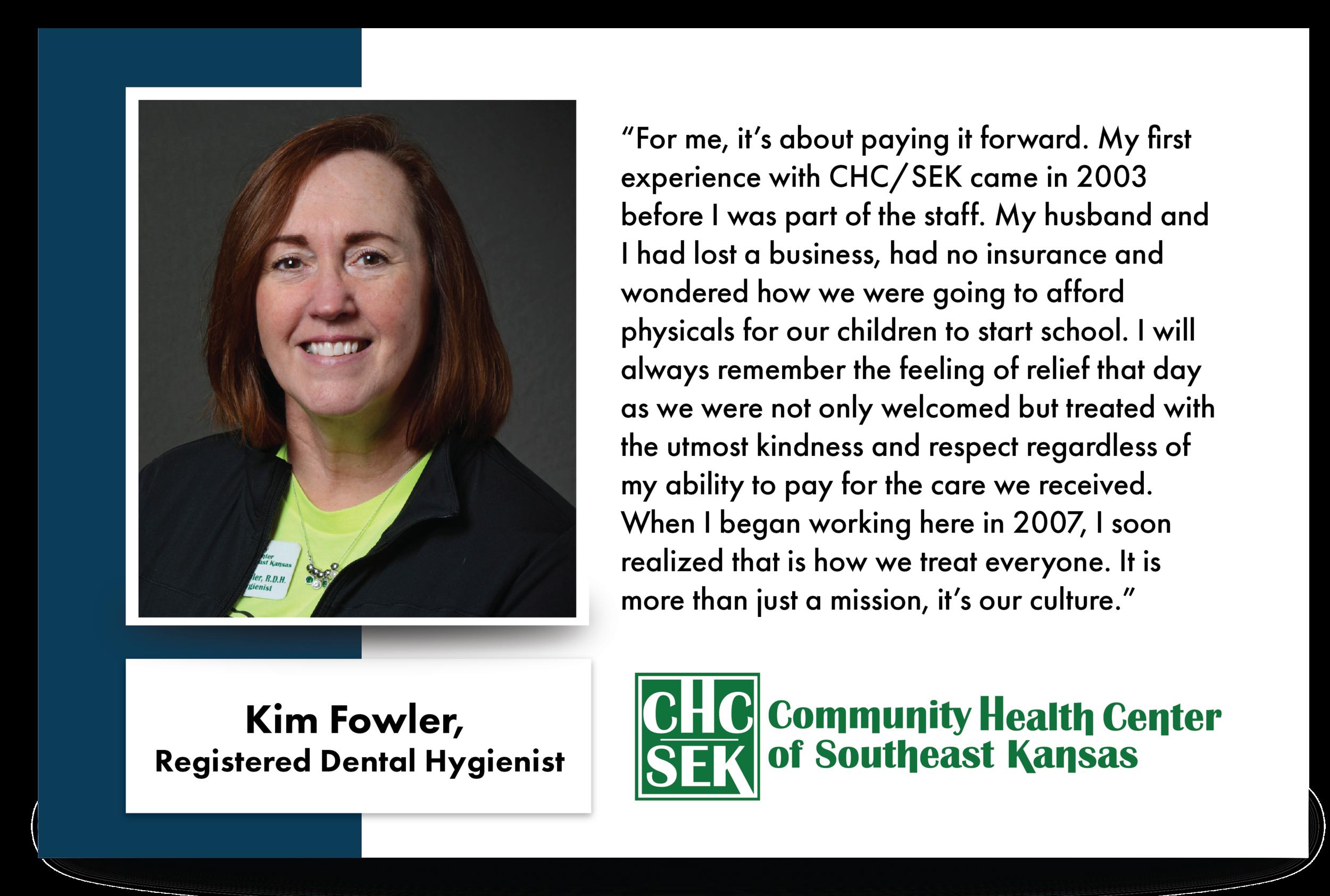 Kim Fowler, CHCSEK Registered Dental Hygienist