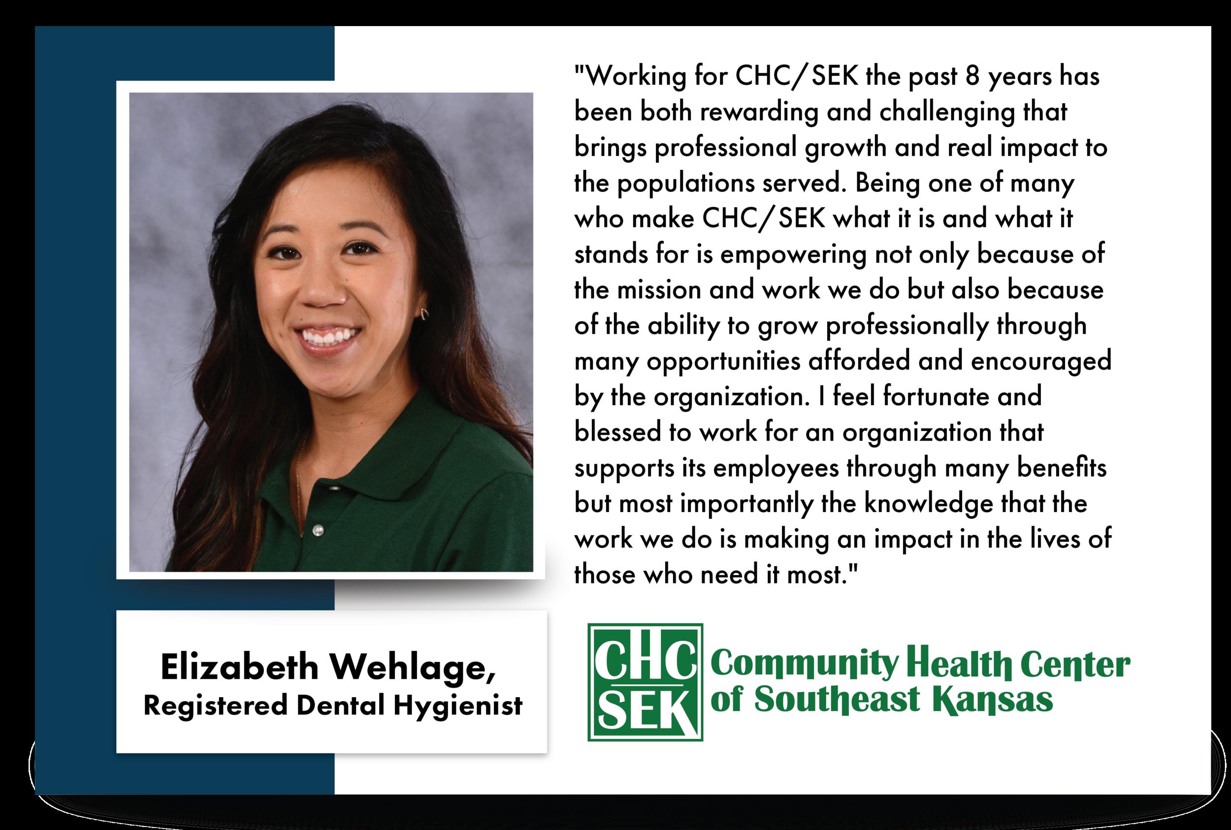 Elizabeth Wehlage, Registered Dental Hygienist CHCSEK