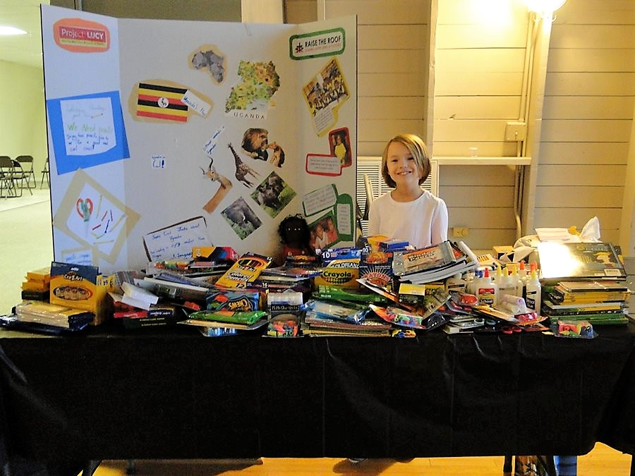 Lucy gave up her birthday and then expanded her project to collect school supplies for the RTRA students at her own school.