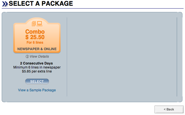 select an ad package