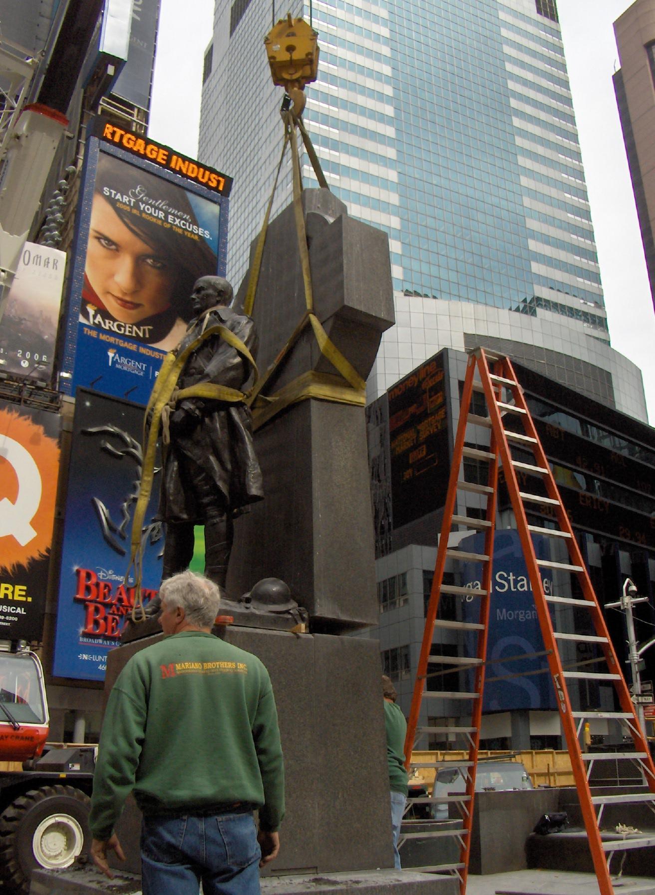 George M. Cohan Monument - Installation