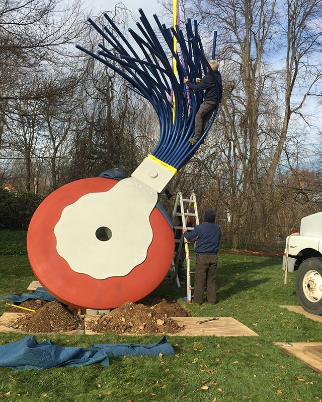"Only 4 days until Christmas and we're busy picking up and wrapping presents!  A long December day de-installing Claes Oldenburg's ""Typewriter Eraser, Scale X"" at a private estate in CT. Full treatment to follow in the new year! #oldenburg #claesoldenburg #eraser #largescale #deinstall #riggers #outdoorsculpture #conservation #restoration #sculpturedoctor"