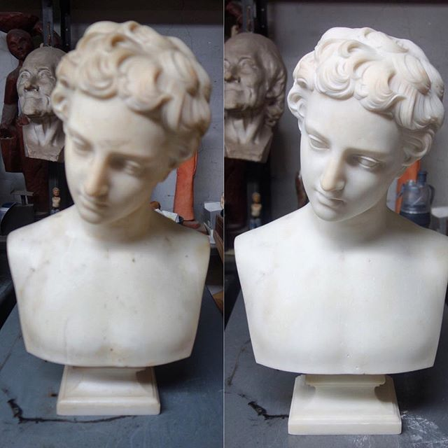 Before and After of Hiram Powers' bust of Fisher Boy.  Sorry the pre-treatment photo is a little sloppy, but the stain removal and hair detailing came out great! #americanart #marble #marblebust #hirampowers #fisherboy #stainremoval #restoration #conservation #sculpturedoctor