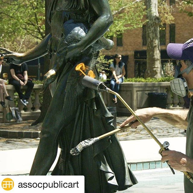 "#Repost @assocpublicart with @get_repost ・・・ Our conservation season has begun🔥 Here, conservator Kurt Solmssen with @tattiartconservation (part of our team) heats the ""Duck Girl"" sculpture in Rittenhouse Square with a torch, which allows him to apply a protective wax coating that keeps bronze sculptures healthy. Learn more about our work at associationforpublicart.org/conservation. • 📷 Ashley Lippolis for aPA"