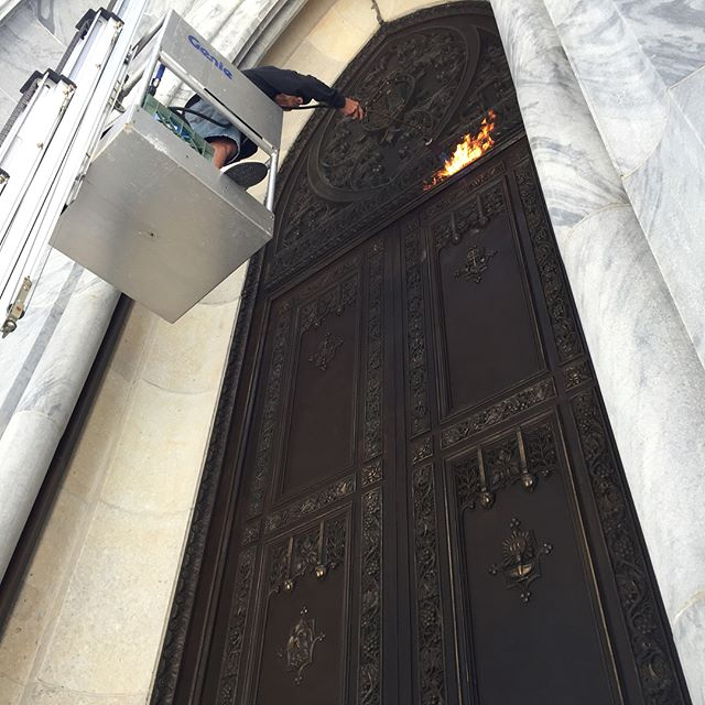 Summer is finally here! First order of business is the maintenance of the beautifully artistic doors at St. Patrick's Cathedral on 5th Avenue. Once cleaned, the doors are given a special hot wax treatment to keep them safe for the next year. #stpatrickscathedral #architecturalrestoration #sculpturedoctor #conservation