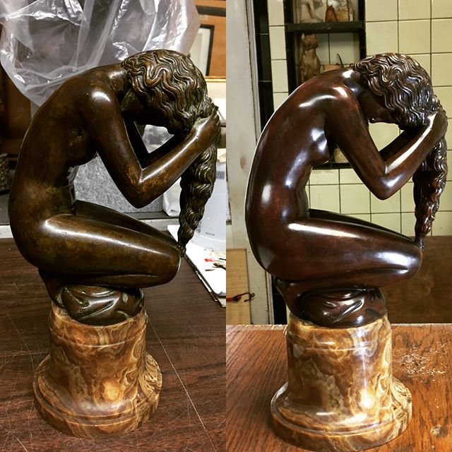 Before (left) and After (right) of Paul Manship's Venus Anadyomene from a private collection.  The piece came to us covered with a dark lacquer coating which was applied to mask numerous patina blemishes. This coating started to wear unevenly and became unsightly, so it was removed completely and the blemishes were addressed at the source with isolated repatination and chemical blending. A pigmented microcrystalline wax was applied to harmonize the piece and brought the whole thing together.  It's really special when a client tells you they appreciate the hard work we put into our projects. It makes it all worth it. Happy Friday everyone!