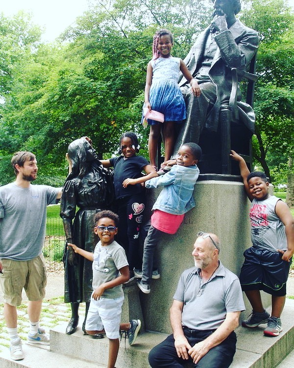 "As we were doing our post-treatment surveys in Philadelphia for our annual conservation efforts with @assocpublicart a group of children came up and joined us at Francis Edwin Elwell's ""Dickens and Little Nell"" in Clark Park.  Nice to see the community enjoying the outdoor monuments we work so hard to preserve.  #conservation #restoration #outdoorsculpture #publicart #sculpture #sculpturedoctor"