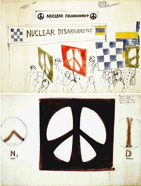 Two sketches for the 1958 protest march as drawn by Gerald Holtom, showing the first representations of the peace symbol.