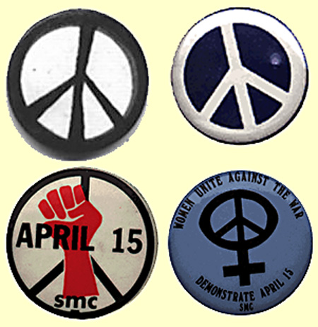 The many faces of peace, all represented by Gerald Holtom's unique symbol. The upper-left button is a reproduction of the very first peace-symbol badge produced in 1958 by the Campaign for Nuclear Disarmament.