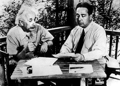 Einstein and Leo Szilard, 1946, composing a letter to President FDR asking that nuclear technology be channeled toward peaceful purposes.
