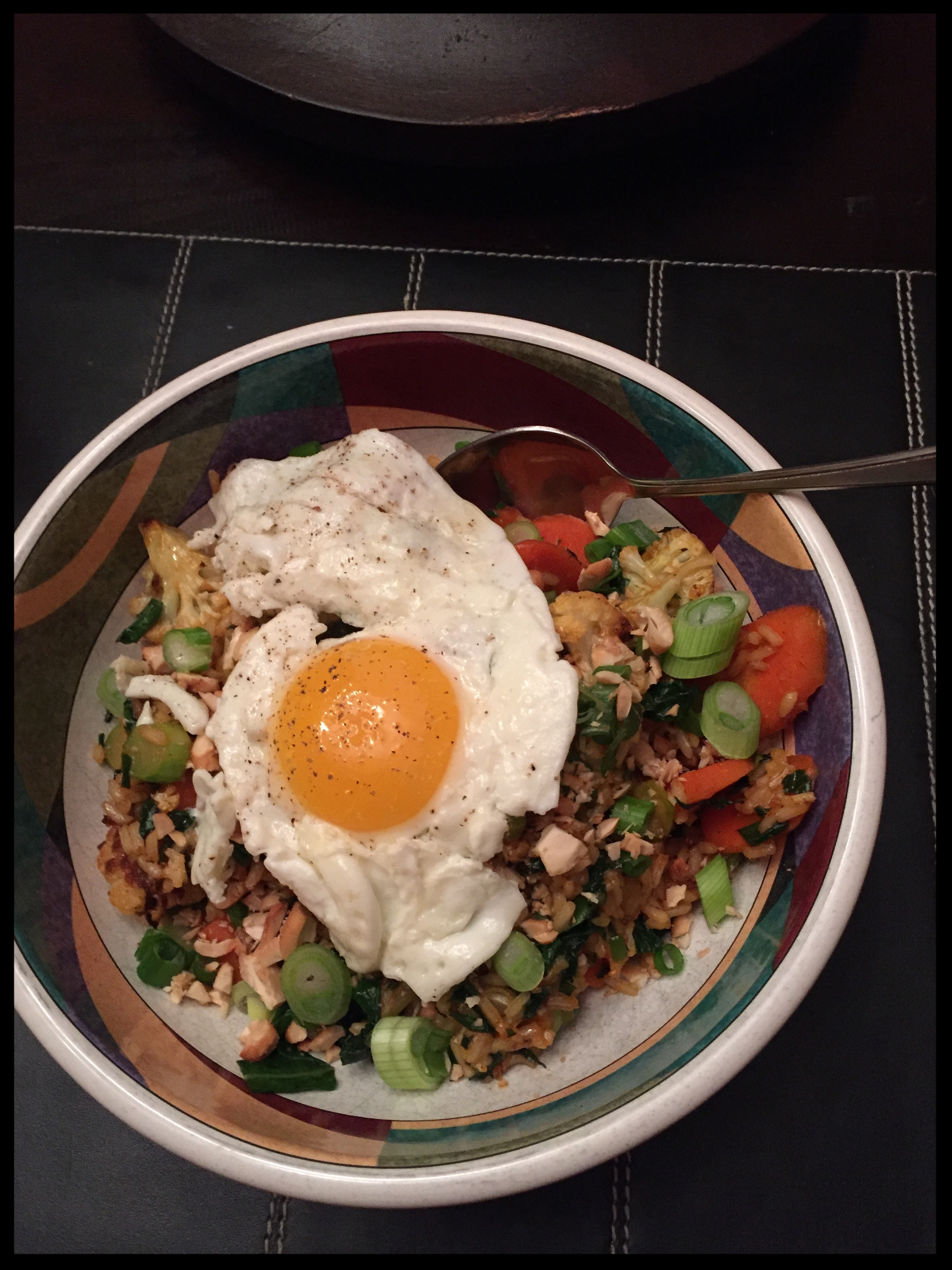Vegetable Fried Rice Bowls with Cauliflower, Gai Lan & Fried Egg
