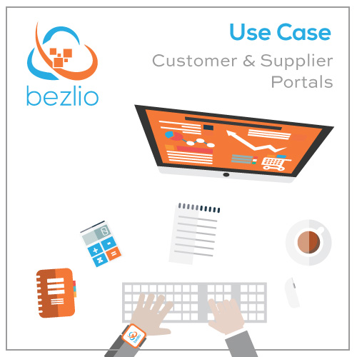 Illustration of a desktop with computer monitor displaying a customer and supplier portal, coffee, calculator, and keyboard, which illustrates Bezlio's ability to integrate with Epicor or any other ERP to display invoices, order status, or even customer-specific inventory and deliver a customer self service portal.