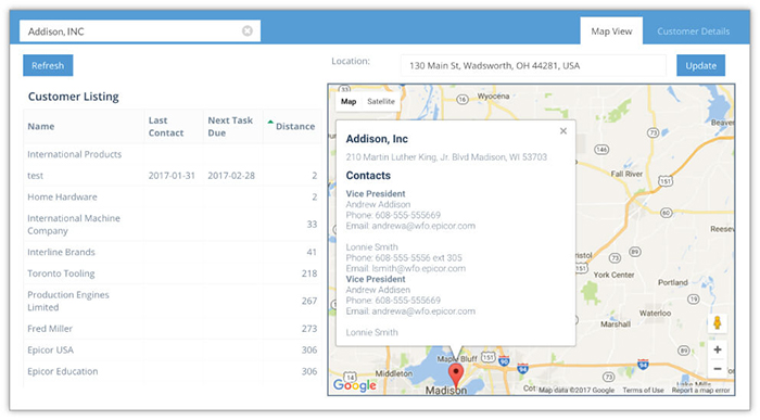 Screenshot of Bezlio displaying a Google Map that has been integrated with a mobile Epicor CRM solution. Bezlio can be run on any mobile device, such as an iPhone, iPad or Android device.