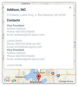 A screenshot of the interface in Bezlio of the Epicor CRM integration with Google Maps on a mobile device, which allows you to click to call and open emails right from your iPhone or Android phone.