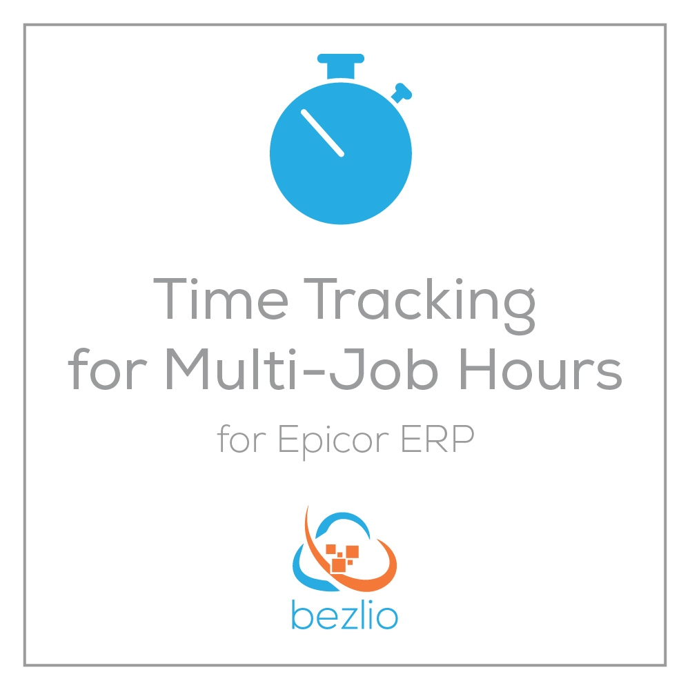 Illustration for the new Bezlio mobile Epicor time tracking application that allows you to use any mobile device to track your time on jobs within Epicor ERP.