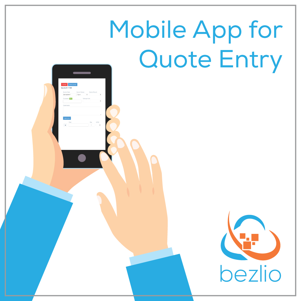 Illustration of someone using a mobile phone to access their company's quote system. Bezlio allows you to easily access your ERP data on any device, from anywhere, securely!