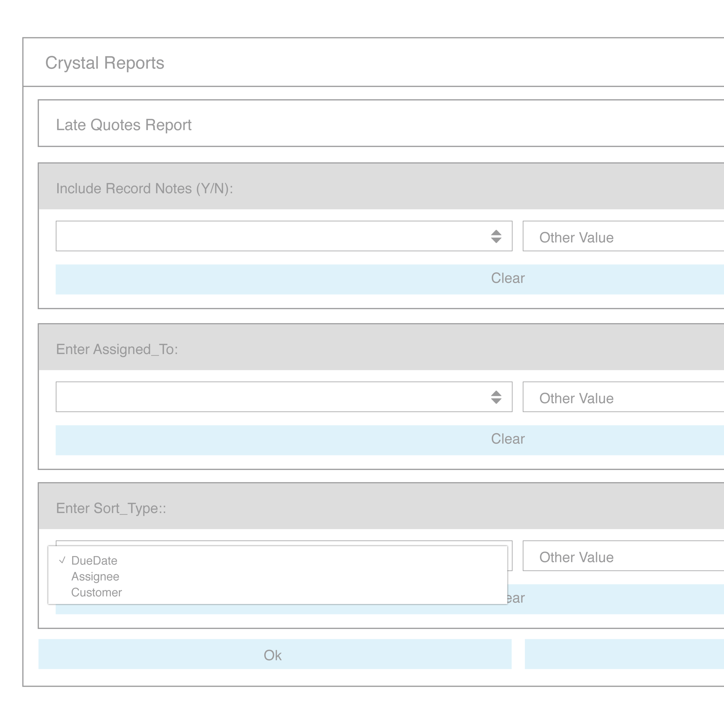 A screenshot from Bezlio's parameter screen which gives Bezlio mobile users the ability to run Crystal Reports remotely from the enterprise installation.