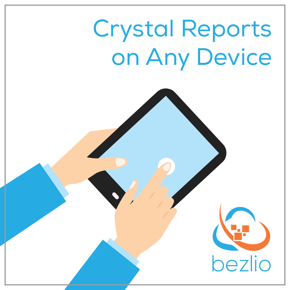 Illustration of two hands holding an iPad mobile tablet, which illustrates bezlio's ability to act as a Crystal Reports web viewer. Reports can be run from any mobile device from a browser or app and displayed to the user's device.