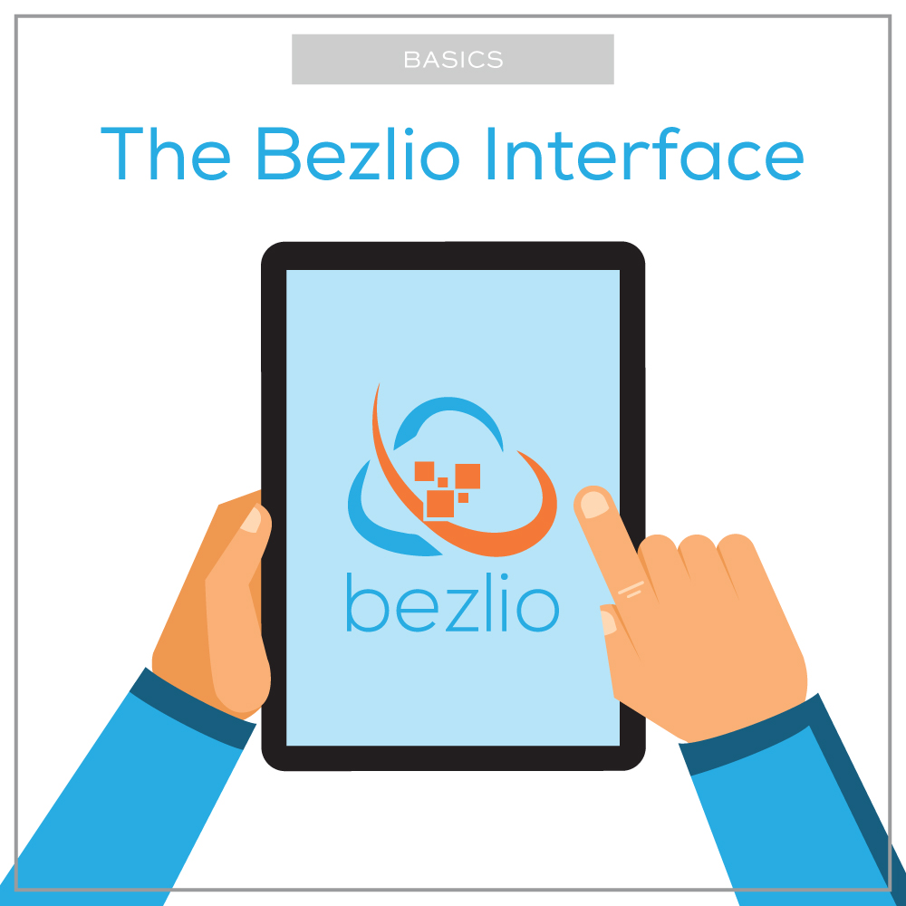 Illustration of hands on a tablet with the Bezlio logo in the center. This illustration highlights the blog post about how to navigate around the Bezlio interface.