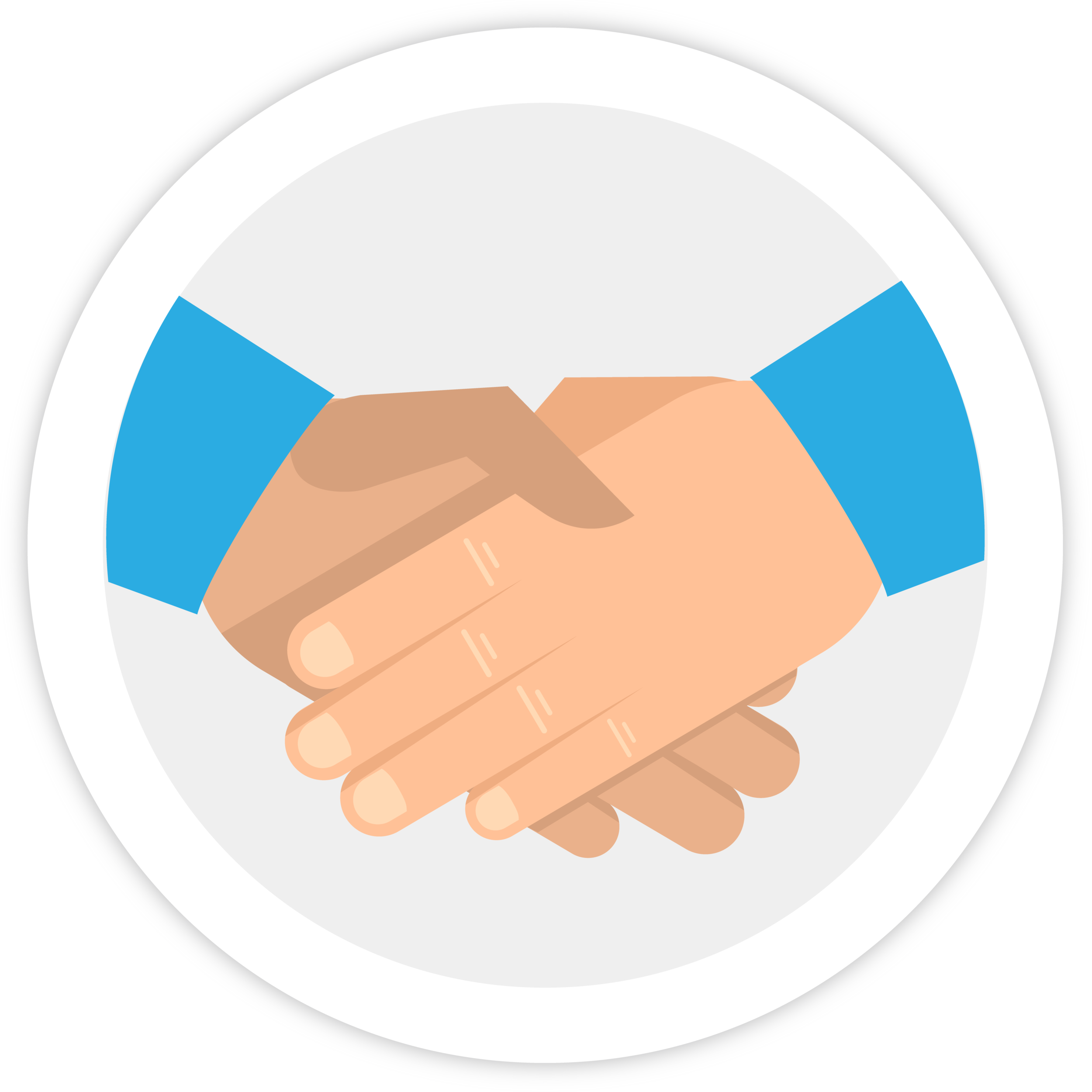 Illustration of a handshake, indicating the partnership between Bezlio and other ERP/CRM solution providers.