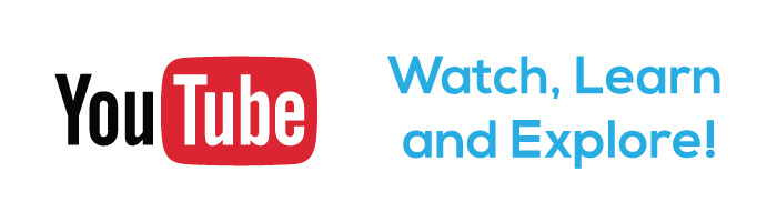 "YouTube logo and the words, ""Watch, Learn and Explore!"" which helps to direct Bezlio users to th YouTube channel for more information."
