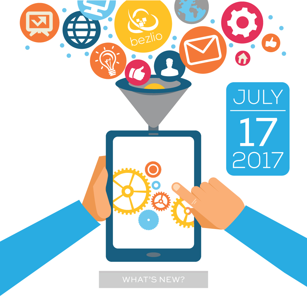 "Illustration of hands using a tablet. This is the cover image for the Bezlio ""What's New?"" post for July 17, 2017."