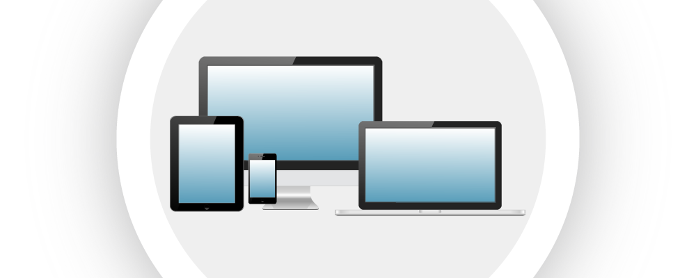 Illustration of four different mobile and desktop devices, which can all run Bezlio and display real-time Epicor ERP data.