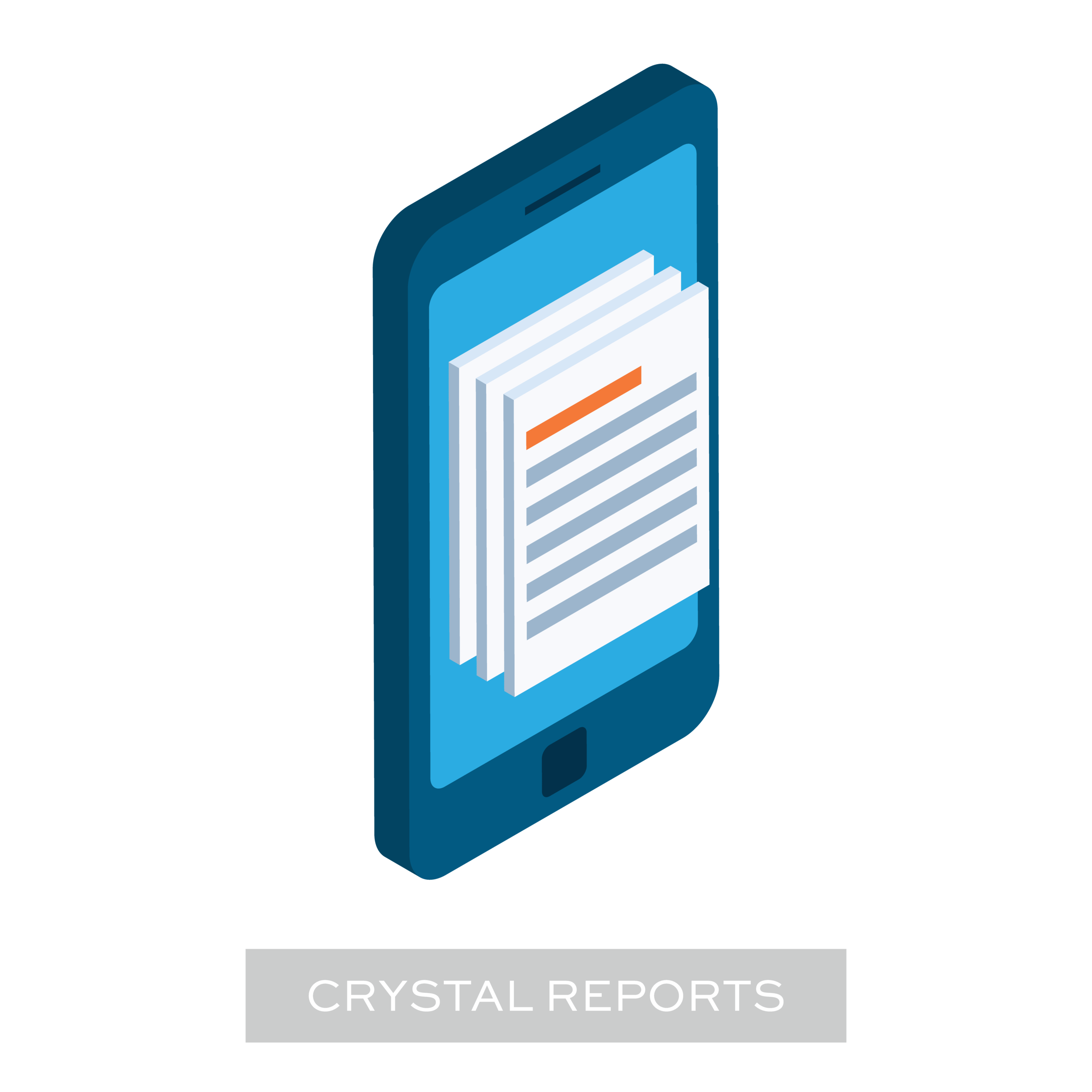 A 3D illustration of a mobile phone with Crystal Reports on it, which is representing the area that provides step-by-step instructions for setting up Bezlio for Crystal Reports.