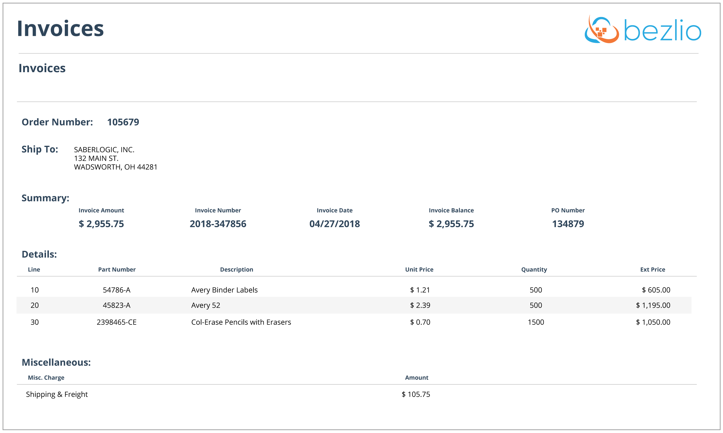 Screenshot of the Bezlio self-service customer portal screen for displaying invoices and invoice details from your on-premise ERP or accounting system.